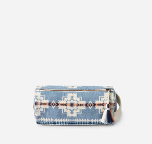 chief joseph cosmetic case bag travel pouch pencil case blue pink white pattern cotton pendleton woolen mills back side