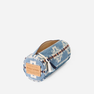 chief joseph cosmetic case bag travel pouch pencil case blue pink white pattern cotton pendleton woolen mills inside