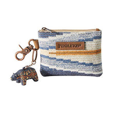 Load image into Gallery viewer, crescent bay pattern blue pendleton woolen mills id pouch keyring bear small wallet