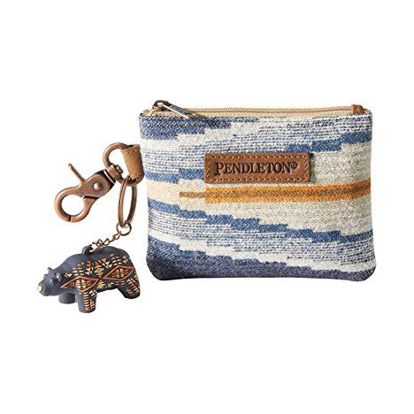 crescent bay pattern blue pendleton woolen mills id pouch keyring bear small wallet