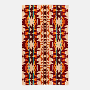 pendleton woolen mills beach towel crescent butte beige bright colors tribal pattern fluffy dry warm cozy front