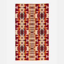 Load image into Gallery viewer, pendleton woolen mills beach towel crescent butte beige bright colors tribal pattern fluffy dry warm cozy back side