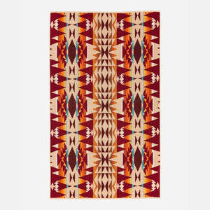 pendleton woolen mills beach towel crescent butte beige bright colors tribal pattern fluffy dry warm cozy back side