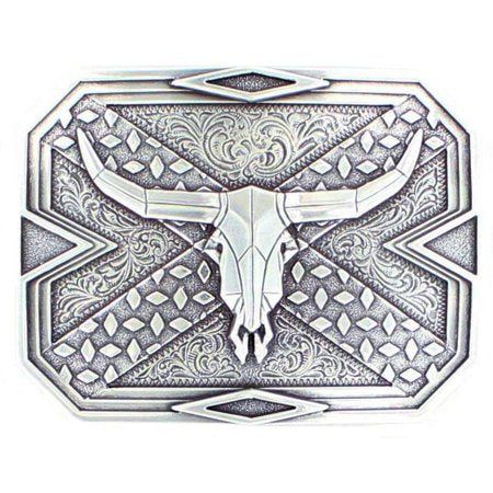 Diamond Plate Steer Skull Buckle Silver