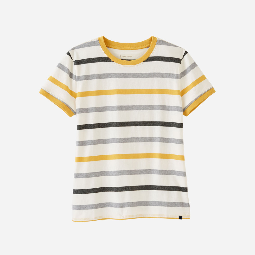 pendleton woolen mills t-shirt women's clothing deschutes ringer tee ivory gold stripes horizontal cotton layering basic