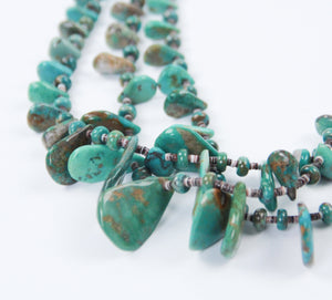 Teller Indian Jewelry Royston turquoise necklace multi-strand blue green beautiful detail shot