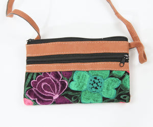 Double zipper purse cross body small travel embroidered flowers purple pink green leather back