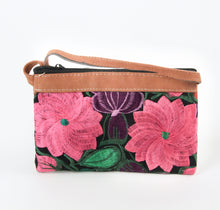 Load image into Gallery viewer, Double zipper purse cross body small travel embroidered flowers purple pink green leather