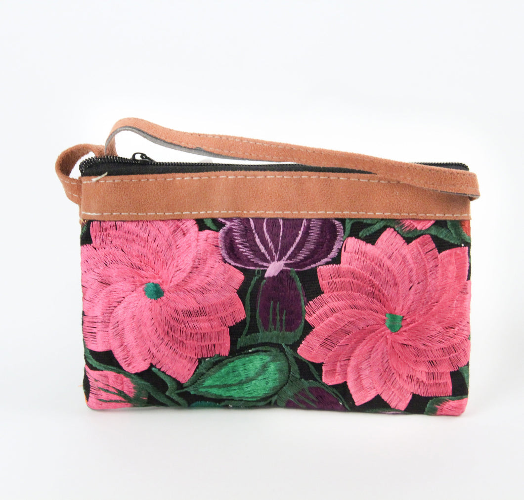 Double zipper purse cross body small travel embroidered flowers purple pink green leather