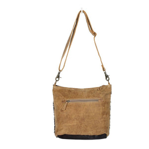 Double Zipper Hairon Shoulder Bag