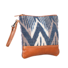 Load image into Gallery viewer, myra bag handbag pouch travel elegant blue chevron rug pattern leather accent wrist strap organizer makeup bag women accessory