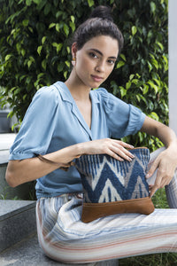 myra bag handbag pouch travel elegant blue chevron rug pattern leather accent wrist strap organizer makeup bag women accessory