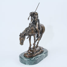 Load image into Gallery viewer, End of the Trail sculpture replica bronze statue marble base Fraser Native American horseback
