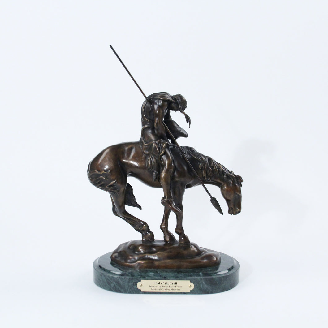 End of the Trail sculpture replica bronze statue marble base Fraser Native American horseback