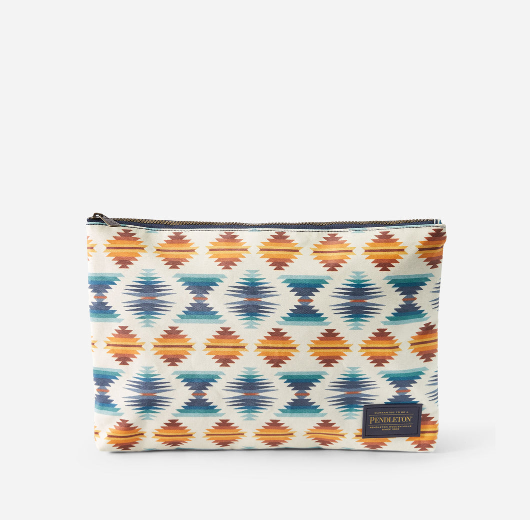 canopy canvas big zip pouch falcon cove pattern wipe clean pendleton woolen mills travel bag