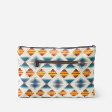 Load image into Gallery viewer, canopy canvas big zip pouch falcon cove pattern wipe clean pendleton woolen mills travel bag back side