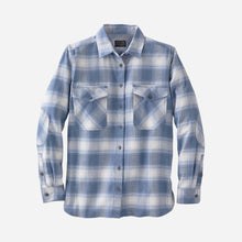 Load image into Gallery viewer, Pendleton Women's Double-Brushed Flannel Elbow Patch Shirt, Vintage Indigo Ombre