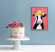 Load image into Gallery viewer, little cow flower crown pink background barn farm wall decor