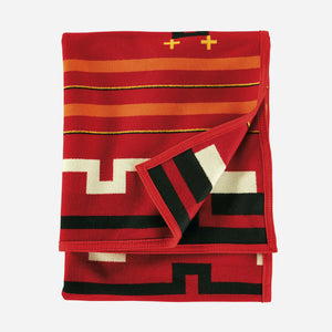 Pendleton woolen mills preservation series robe blanket red PS02 native american art education fundraiser folded