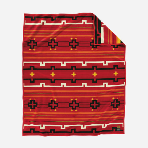 Pendleton woolen mills preservation series robe blanket red PS02 native american art education fundraiser front