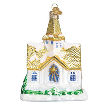 Load image into Gallery viewer, golden cathedral church ornament glass old world christmas tree ornament gift glitter beautiful decoration for holidays side view
