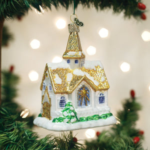 golden cathedral church ornament glass old world christmas tree ornament gift glitter beautiful decoration for holidays on tree branch