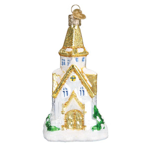 golden cathedral church ornament glass old world christmas tree ornament gift glitter beautiful decoration for holidays back side