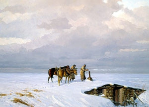 The hand warmer tom lovell snow native american sod roof house winter painting print