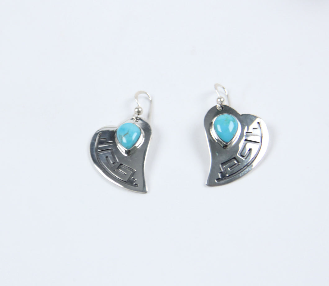 teller indian jewelry navajo artists earrings turquoise stones sterling silver dangle heart shaped