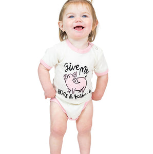 hogs & kisses hugs baby infant onesie cotton pigs lazy one creeper snaps short sleeves white pink front on baby