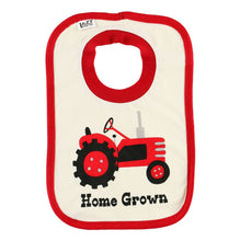 Load image into Gallery viewer, home grown bib cotton red white tractor farming baby infant gift lazy one food spills front graphic