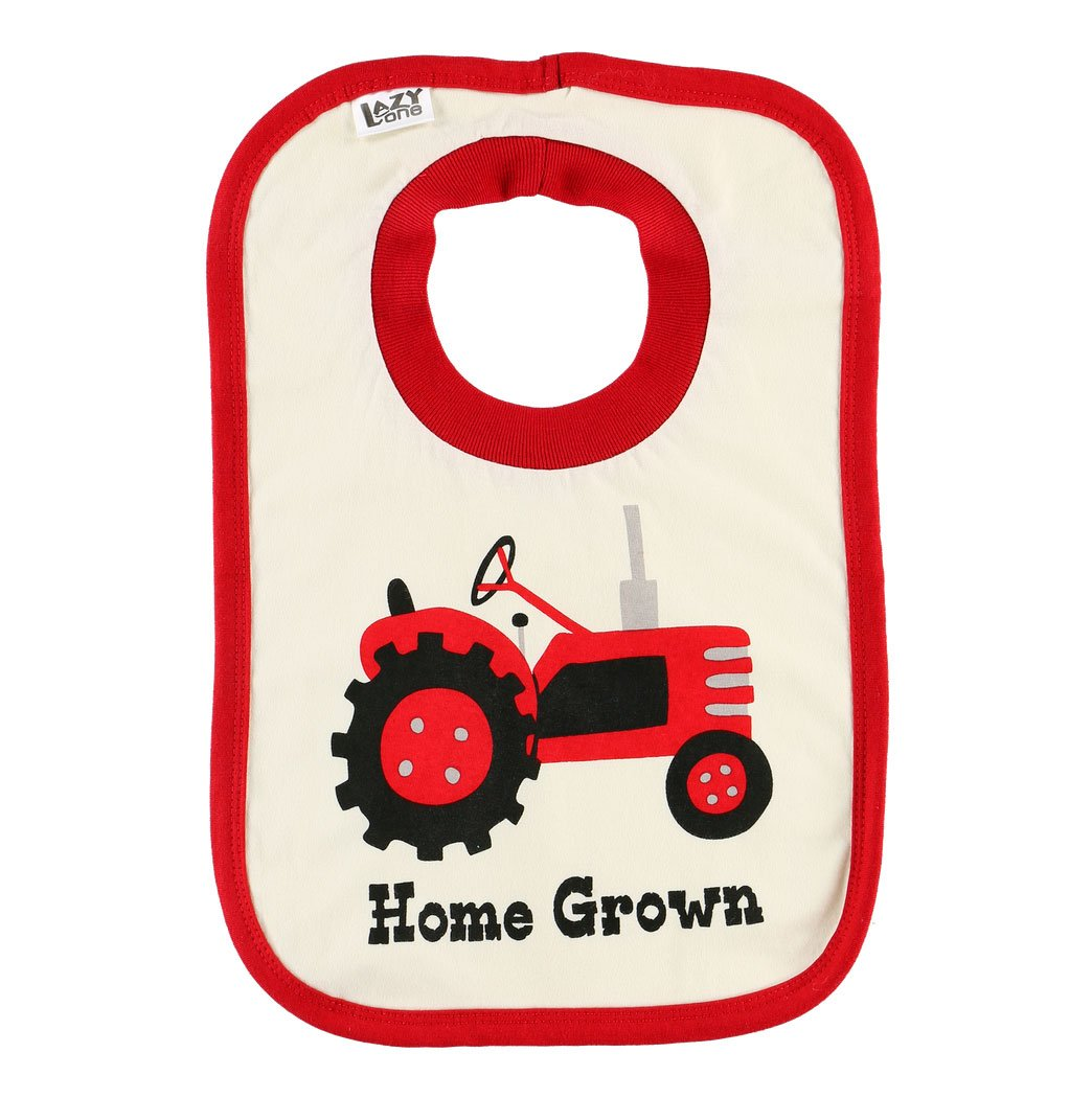home grown bib cotton red white tractor farming baby infant gift lazy one food spills front graphic