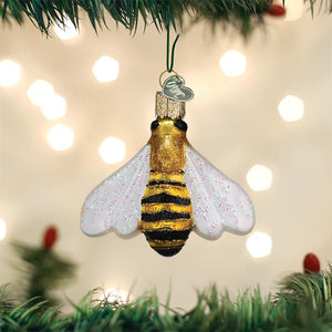 honey bee ornament for christmas trees glitter glass old world christmas ornament gift for beekeepers on the tree