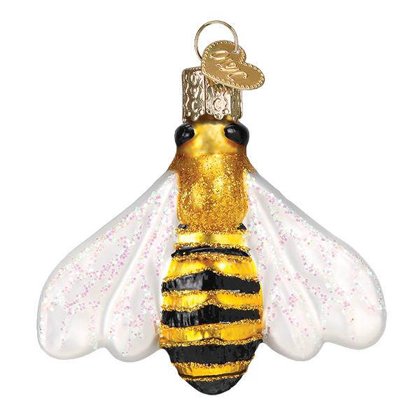 honey bee ornament for christmas trees glitter glass old world christmas ornament gift for beekeepers front