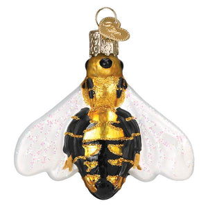 honey bee ornament for christmas trees glitter glass old world christmas ornament gift for beekeepers back side view