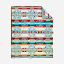 Load image into Gallery viewer, Chief Joseph Nez Perce tribe native american aqua wool robe blanket throw arrowheads courage northeastern oregon USA made reverse