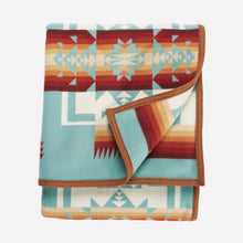 Load image into Gallery viewer, Chief Joseph Nez Perce tribe native american aqua wool robe blanket throw arrowheads courage northeastern oregon USA made folded