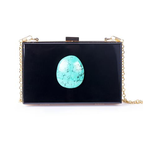 agate evening clutch cross body purse handbag turquoise stone black acrylic chain small night out fancy Christina Greene