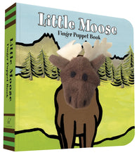 Load image into Gallery viewer, little moose finger puppet book interactive reading fun for kids and babies a book with plush peek-a-boo animals