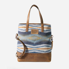 Load image into Gallery viewer, crescent bay long tote purse bag pendleton wool leather shoulder strap blue design front