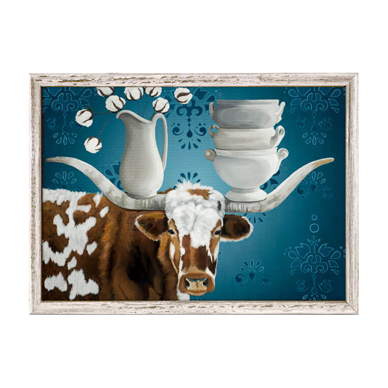 longhorn steer and ironstone canvas wall art in frame china on the horns decorations for home western