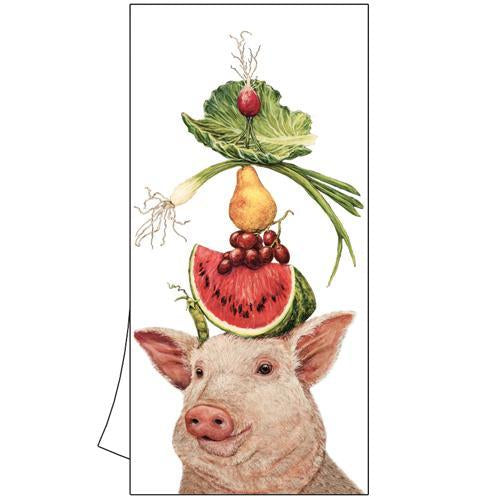 lulu the pig and her lunch on her head pig balancing vegetables on head lettuce watermelon dish towel tea hand kitchen white cotton gift home dining
