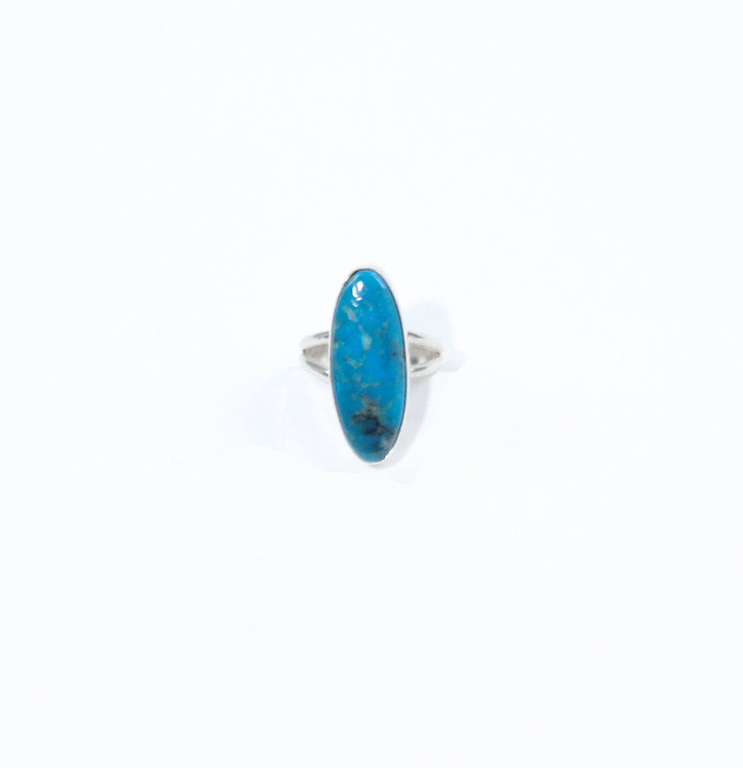 Teller Indian jewelry marquise ring stone shape oval dark blue turquoise Navajo made
