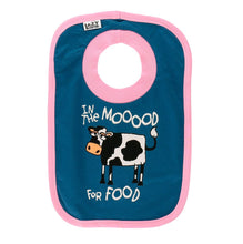 Load image into Gallery viewer, In the Moood for Food cow bib baby infant food spills cotton blue pink hungry front graphic