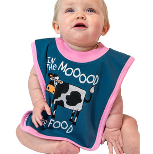 In the Moood for Food cow bib baby infant food spills cotton blue pink hungry front graphic