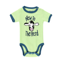 Load image into Gallery viewer, new to the herd cow baby infant child onesie creeper cotton lazy one green turquoise snaps front