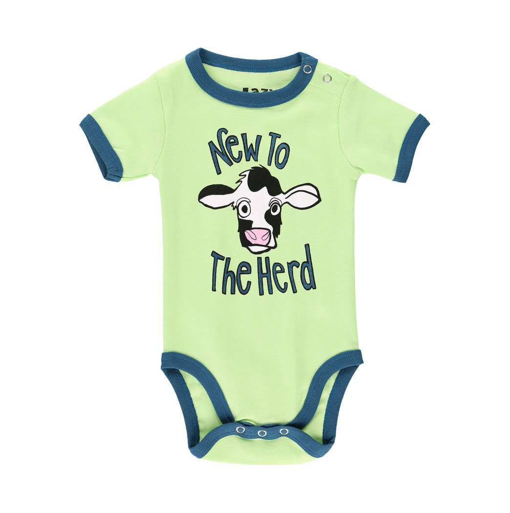 new to the herd cow baby infant child onesie creeper cotton lazy one green turquoise snaps front