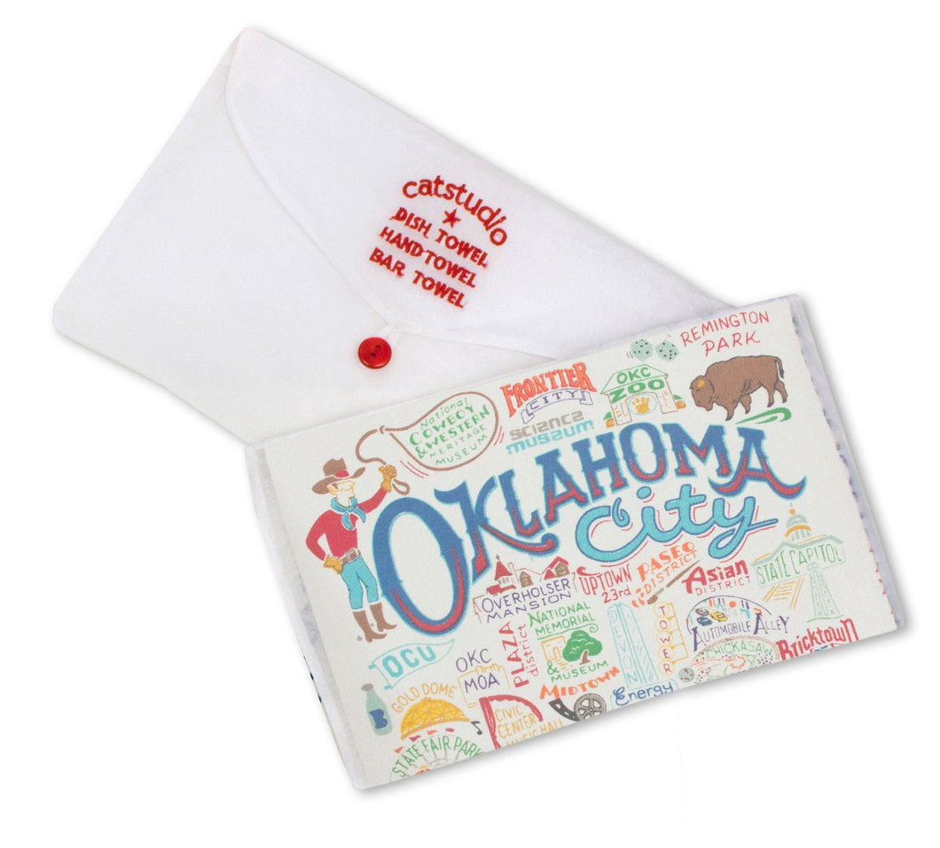 Oklahoma city dish towel kitchen cotton hand printed silk screen bison buffalo cowboy gift housewarming wedding