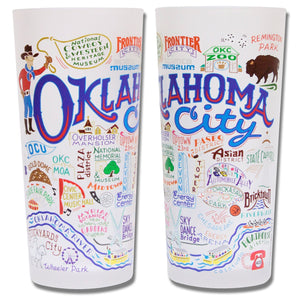 Oklahoma city frosted drinking glass okie gift housewarming kitchen 15 ounces CatStudio wedding present gift