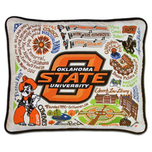 Load image into Gallery viewer, Oklahoma State University pillow cowboys home decor